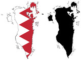 vector precise map and flag of Bahrain poster