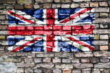 Flag of the United Kingdom on an old brick wall