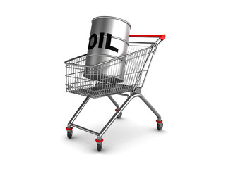 oil barrell in shopping cart