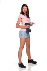 Girl with cordless screwdriver
