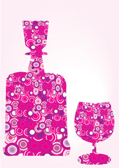 decorative pink bottle and glass