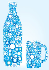 decorative blue bottle and glass