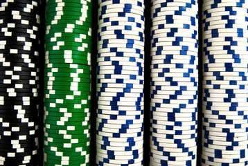 A close up on poker chips