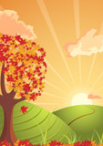 autumn landscape sunset  atmosphere poster