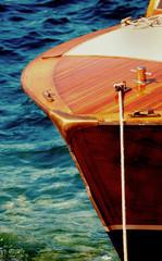 Classic wooden Italian speedboat bow