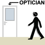 Poor sighted man wearing glasses visiting the opticians poster