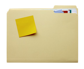 Manila folder with blank stickie