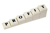 Stack of increasing blocks showing the word PROFIT poster