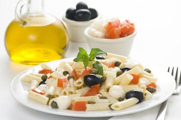 fresh macaroni mozzarella olives capers tomatoes salad