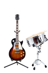 Electric guitar and snare drum