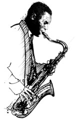 hand drawing saxophonist on a white background