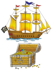 Pirate ship and treasures chest