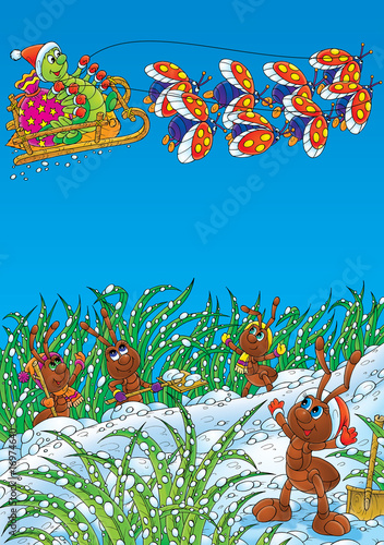 Ants and Caterpillar celebrate Christmas