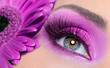 Purple eye make-up with gerber flower