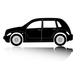 American city car silhouette with shadow. Vector design element.