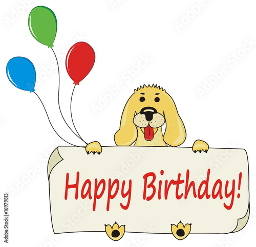 happy birthday cartoon balloons. Zoom Not Available: Vector images scale to any size. Happy Birthday background with cartoon dog and alloons