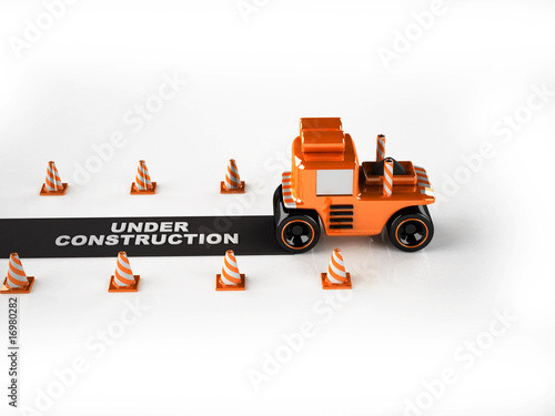 3d asphalt finisher on white background