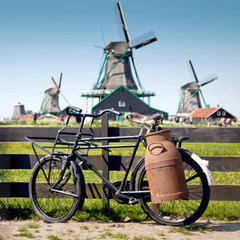 Old Bike and windmills at Netherlands