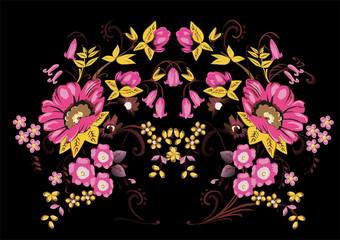 symmetric gold and pink flower design