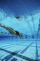 Female swimmer in pool, underwater view