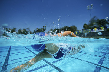Female swimmer in pool, surface view