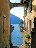 Romantic view to the famous Italian lake Como from Varenna town-
