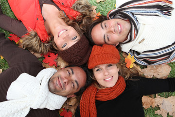 autumn group of teens and young adults