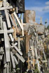 Lithuanian graveyard with wooden crosses