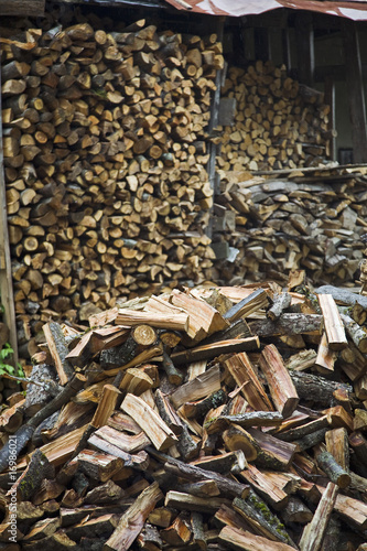 Firewood and wood shed in Latvia