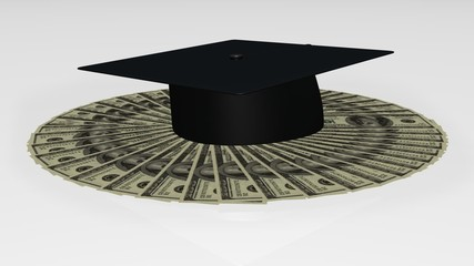 Animation of a graduation hat on dollar notes