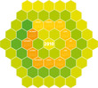 Calendar for year 2010 in an hexagonal pattern (vector format)