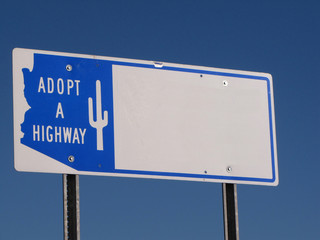 Adopt a Highway Sign along american highway
