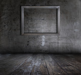 grunge interior with picture frame