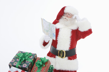 Santa Claus reading map
