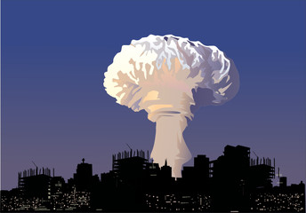 atomic explosion cloud and city