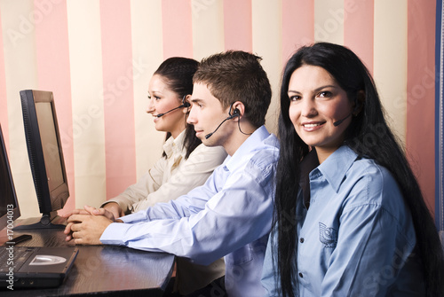 Group people of customers service representative