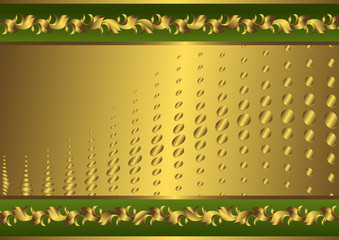 Vintage green and golden card (vector)