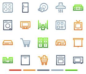 Home appliances web icons, colour symbols series