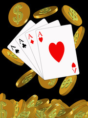 four aces of poker and chips with the dollar