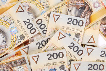 background made of polish 200 zloty banknotes