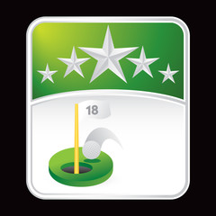 Golf hole in one on green star backdrop