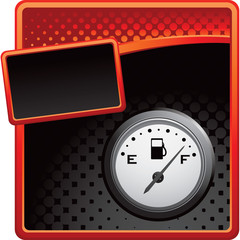 Gas gauge on red and black halftone advertisements