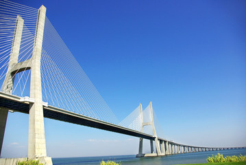 Modern bridge in river Tejo, Portugal.