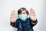 stop virus masque vaccin arrêter contaminer grippe A enfant poster