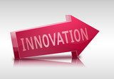 innovation 3D arrow in red colors and isolated poster