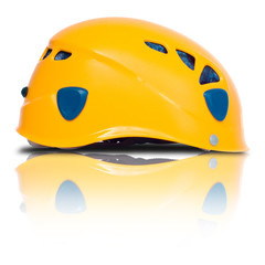 left side view of orange climbing helmet