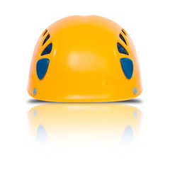 front view of orange climbing helmet