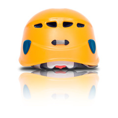 back view of orange climbing helmet
