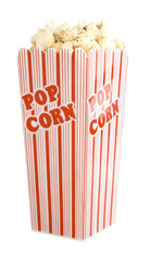 red and white striped popcorn bucket