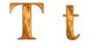 ゴールドのアルファベット t